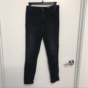 ZARA Black Distressed High Waisted Skinny Jeans